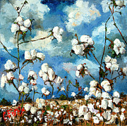 Field Paintings - Limestone County Cotton by Carole Foret