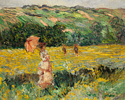 Umbrella Posters - Limetz Meadow Poster by Claude Monet
