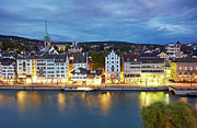 Road Travel Prints - Limmat River And Zurich Altstadt At Dusk, Switzerland Print by Allan Baxter