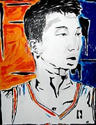 Jeremy Lin Framed Prints - Lin  Framed Print by Patrick Ficklin