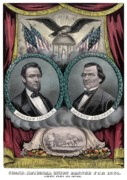 Emancipation Proclamation Drawings Prints - Lincoln and Johnson Election Banner 1864 Print by War Is Hell Store