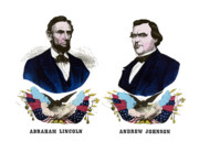 Abraham Lincoln Drawings Posters - Lincoln and Johnson Poster by War Is Hell Store