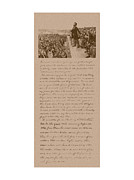 United States Mixed Media Metal Prints - Lincoln and The Gettysburg Address Metal Print by War Is Hell Store