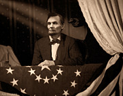 Military Pictures Prints - Lincoln at Fords Theater Print by Ray Downing