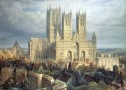 Village Scenes Posters - Lincoln Cathedral from the North West Poster by Frederick Mackenzie