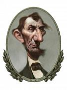 Caricature Framed Prints - Lincoln Framed Print by Court Jones