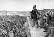 America Drawings Framed Prints - Lincoln Delivering The Gettysburg Address Framed Print by War Is Hell Store
