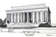 Buildings Drawings Drawings Framed Prints - Lincoln Memorial  Framed Print by Frederic Kohli