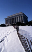 Abraham Lincoln Prints - Lincoln Memorial In The Snow Print by Skip Willits