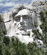 Rapid City Metal Prints - Lincoln on Mt Rushmore Metal Print by Jon Berghoff