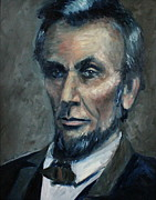 Abe Lincoln Painting Posters - Lincoln Portrait #2 Poster by Daniel W Green
