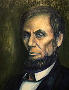 Abe Lincoln Painting Posters - Lincoln Portrait #3 Poster by Daniel W Green