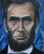 Abe Lincoln Painting Posters - Lincoln Portrait #8 Poster by Daniel W Green