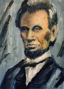 Abe Lincoln Painting Posters - Lincoln Portrait Twelve Poster by Daniel W Green