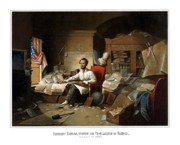 President Lincoln Framed Prints - Lincoln Writing The Emancipation Proclamation Framed Print by War Is Hell Store