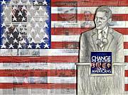 Barack Obama Mixed Media Framed Prints - Lincoln Framed Print by Yvonne Dagger