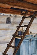 Log Cabin Art Paintings - Lincolns Ladder by Amy Caltry