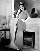 Sequined Posters - Linda Darnell In Sequined Evening Gown Poster by Everett