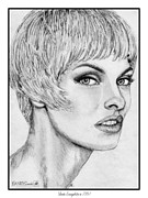 Greyscale Drawings - Linda Evangelista in 1991 by J McCombie