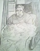 Elderly Drawings - Linda in her Room by Hannah Curran