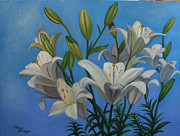 Just Painting Originals - Lindas Lilies by Mary Singer