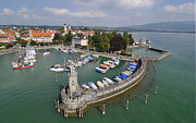 Photos Of Birds Framed Prints - Lindau Harbor Lake Constance Bavaria Germany Framed Print by Matthias Hauser