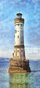 Harbour Mixed Media Prints - Lindau Lighthouse in Germany Print by Nikki Marie Smith