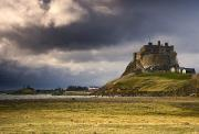 Tourist Attractions Prints - Lindisfarne Castle, Beblowe Crag Print by John Short