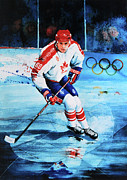 Sport Artist Paintings - Lindros by Hanne Lore Koehler
