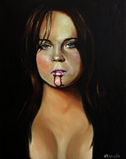 Celeb Painting Framed Prints - Lindsay Lohan Framed Print by Matt Truiano
