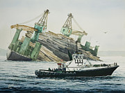 Nautical Print Painting Originals - LINDSEY FOSS Barge Assist by James Williamson