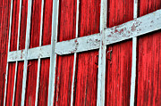 Barn Door Framed Prints - Line of Red Framed Print by Emily Stauring