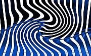 Curves Digital Art Originals - Linear Functions   Irregular Pattern II   Black and  Blue by Mark Hendrickson