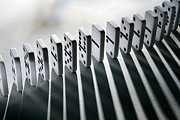 Cause And Effect Metal Prints - Lined Up Dominoes Metal Print by Victor De Schwanberg