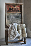 Wash Board Framed Prints - Linen and Lace Framed Print by Marcie Adams Eastmans Studio Photography
