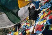 Religious Celebrations Prints - Lines Of Prayer Flags Are Placed All Print by Maria Stenzel