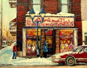 Montreal Storefronts Paintings - Lingerie Rouge Desire by Carole Spandau