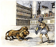 Roman Sport Framed Prints - Lion & Gladiator Framed Print by Granger
