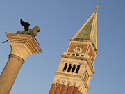 Touristes Photo Posters - Lion and campanile. Venice Poster by Bernard Jaubert