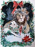 Holiday Card Mixed Media Framed Prints - Lion and Lamb Framed Print by Mindy Newman