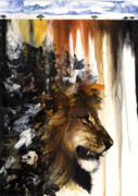 African-american Mixed Media Prints - Lion and the Antelope Print by Anthony Burks