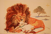 African Lion Painting Framed Prints - Lion and the Lamb Framed Print by Lynn Beazley Blair
