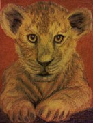 Cubs Pastels Posters - Lion Cub Poster by Christy Brammer
