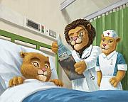 Friendly Cartoon Posters - Lion Cub In Hospital Poster by Martin Davey