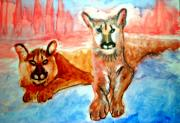 Cubs Painting Originals - Lion Cubs of Arizona by Stanley Morganstein