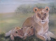 Cubs Painting Originals - Lion Family by Teresa LeClerc