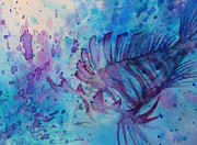 Fish Underwater Paintings - Lion Fish by Alanna Garrett