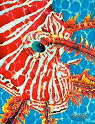 Animals Tapestries - Textiles Prints - Lion Fish Face Print by Daniel Jean-Baptiste