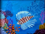 Fish Underwater Paintings - Lion Fish by Fram Cama