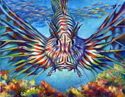 Life-threatening Metal Prints - Lion Fish Metal Print by Nancy Tilles